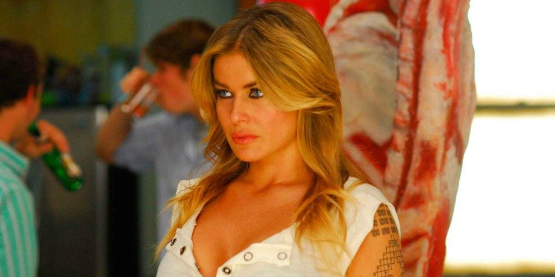Carmen Electra is looking ahead while at a house party.
