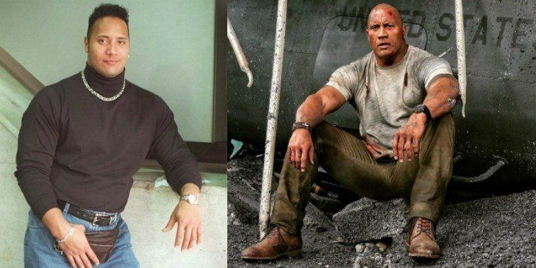 Dwayne Johnson in the '90s and on the set of Rampage in 2017