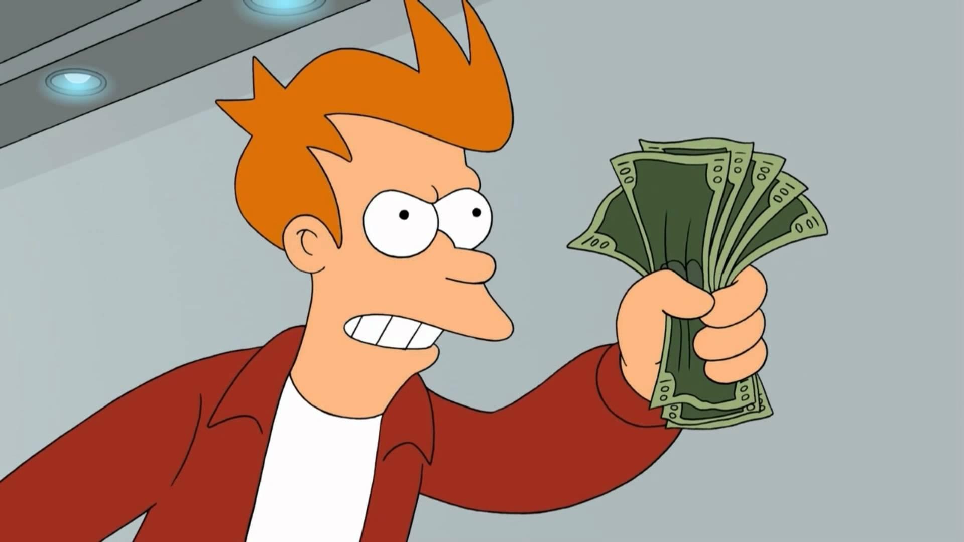 Fry holding money