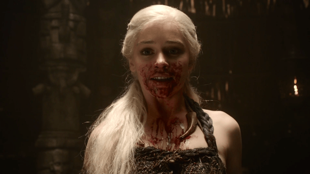 Immediately after eating a stallion heart, Daenerys has blood all over her face in a scene from 'Game of Thrones' Season 1, Episode 6.