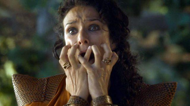Horrified, Ellaria Sand watches the Mountain kill Oberyn Martell on 'Game of Thrones.'