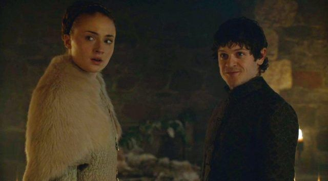 Ramsay Bolton looks pleased and Sansa Stark looks frightened in a scene from 'Game of Thrones.'