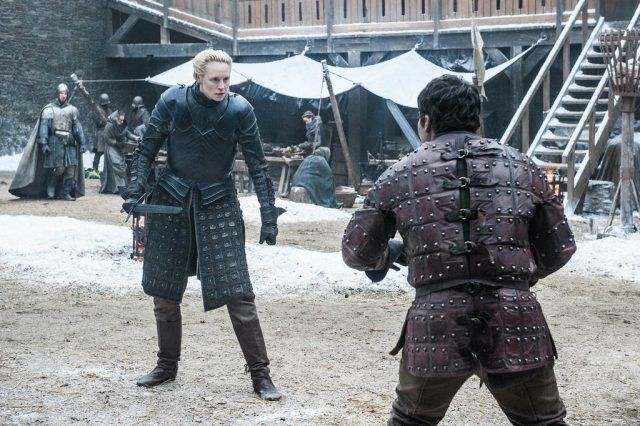 Brienne of Tarth stands off against Podrick in a scene from the 'Game of Thrones' Season 7 premiere.