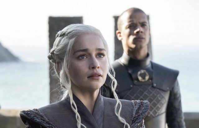 In the Season 7 'Game of Thrones' premiere, Daenerys Targaryen and Greyworm stare at the entrance to Dragonstone.