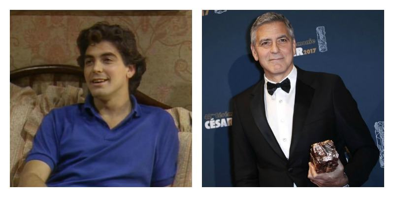 On the left is young George Clooney with dark wavy hair. On the right is grey George Clooney in a tux on the red carpet.