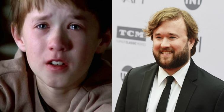 Haley Joel Osment in The Sixth Sense and Haley Joel Osment on the red carpet in 2016.