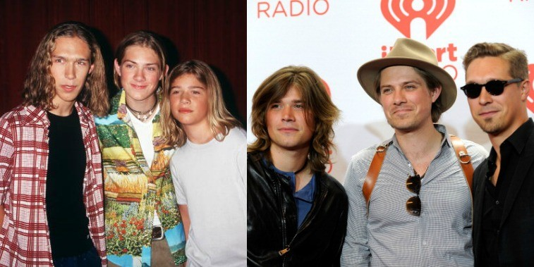 Hanson in 1998 and in 2013, posing together