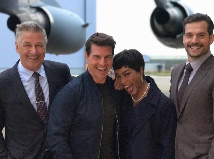 Alec Baldwin, Tom Cruise, Angela Bassett, and Henry Cavill filming Mission: Impossible 6