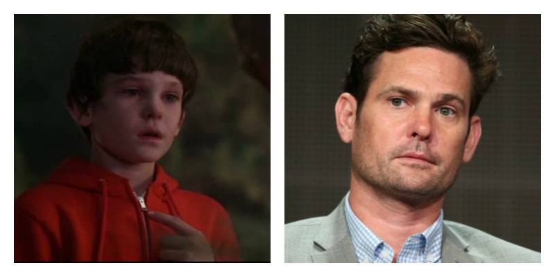 On the left is young Henry Thomas crying in E.T. the Extra Terrestrial. On the right is Henry Thomas grown up wearing a suit.