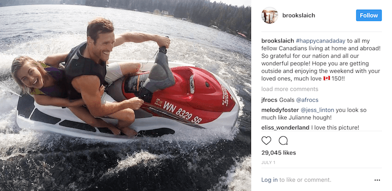 Julianne Hough and Brooks Laich ride on a Jet Ski