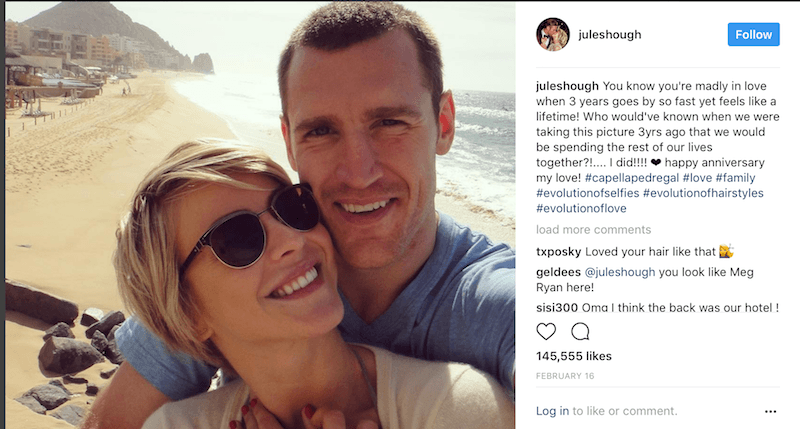 Julianne Hough and Brooks Laich pose for a selfie on a beach
