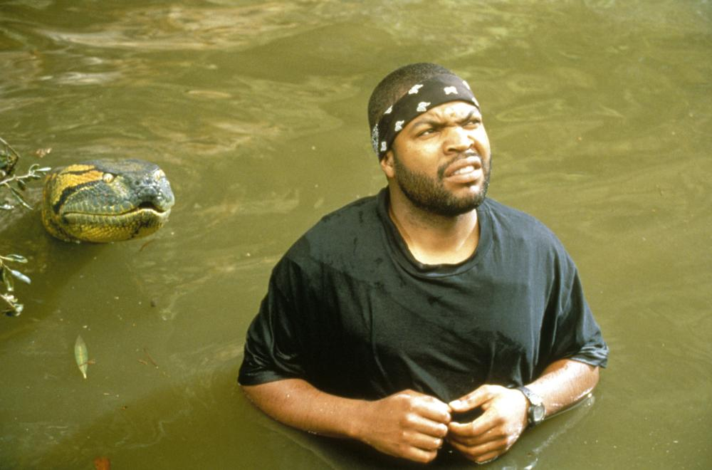 Ice Cube unaware that he's about to be attacked by a wild animal in the movie 'Anaconda'