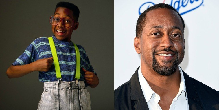 Jaleel White as Steve Urkel on Family Matters in the '90s and at a gala for the LA Dodgers in 2016