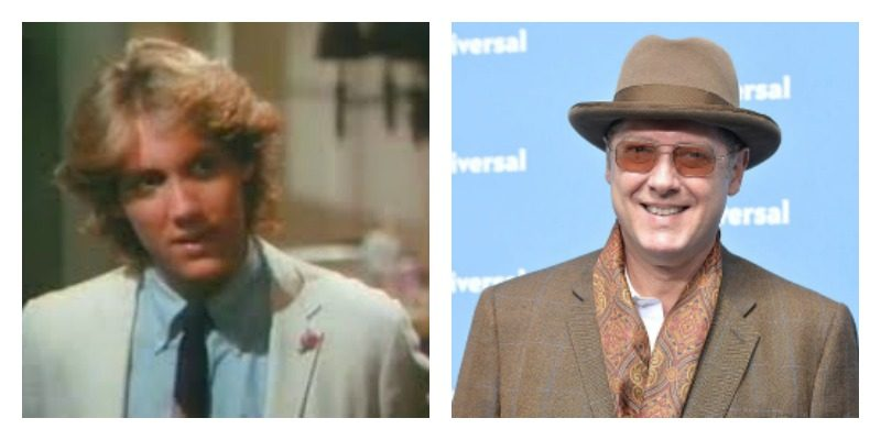 On the left is young James Spader with blonde hair and in a suit. On the right is James Spader wearing a hat, sunglasses, and in a suit.