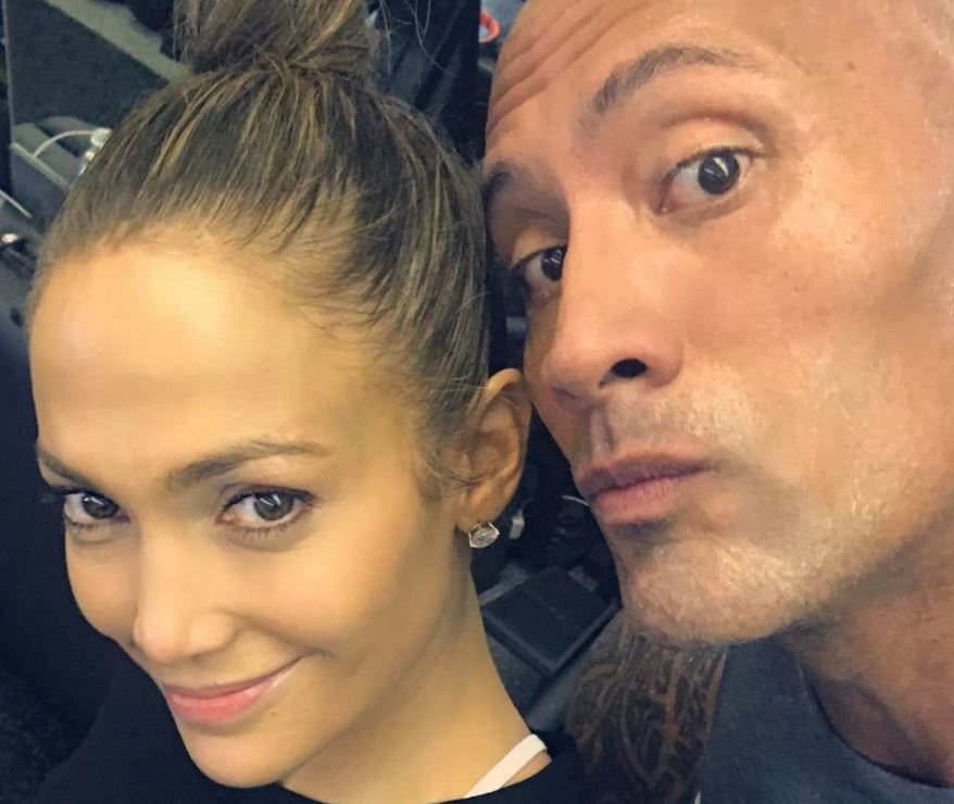 Jennifer Lopez and Dwayne Johnson pose together after a workout