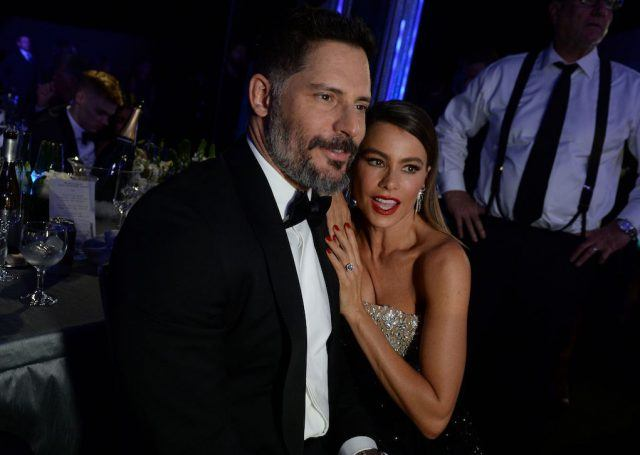 Actress Sofia Vergara and Joe Manganiello share a moment during the 23rd Annual Screen Actors Guild Awards show at The Shrine Auditorium on January 29, 2017 in Los Angeles, California.