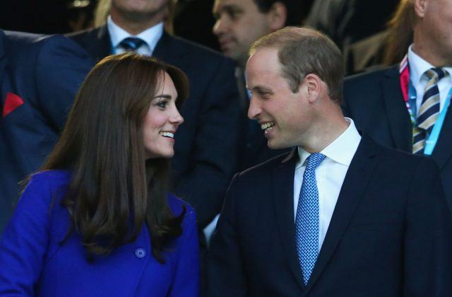 Catherine, Duchess of Cambridge and Prince William, Duke of Cambridge attend the opening ceremony ahead of the 2015 Rugby World Cup Pool A match between England and Fiji at Twickenham Stadium on September 18, 2015 in London, United Kingdom.