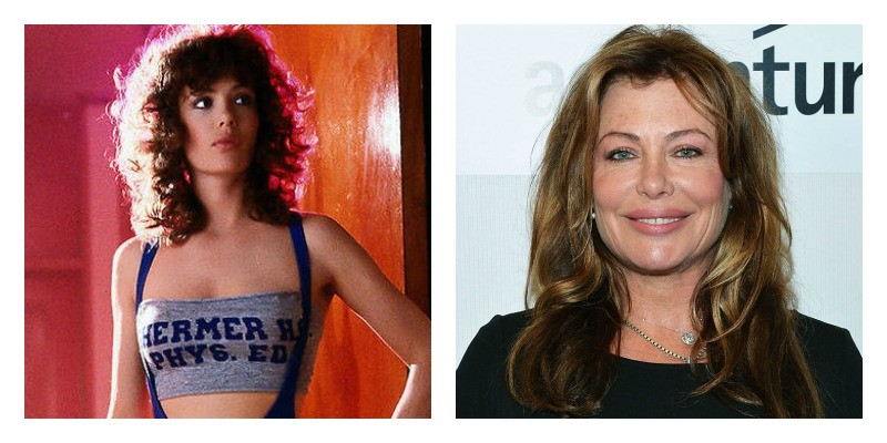 On the left is Kelly LeBrock in Weird Science. On the right is Kelly LeBrock on the red carpet.