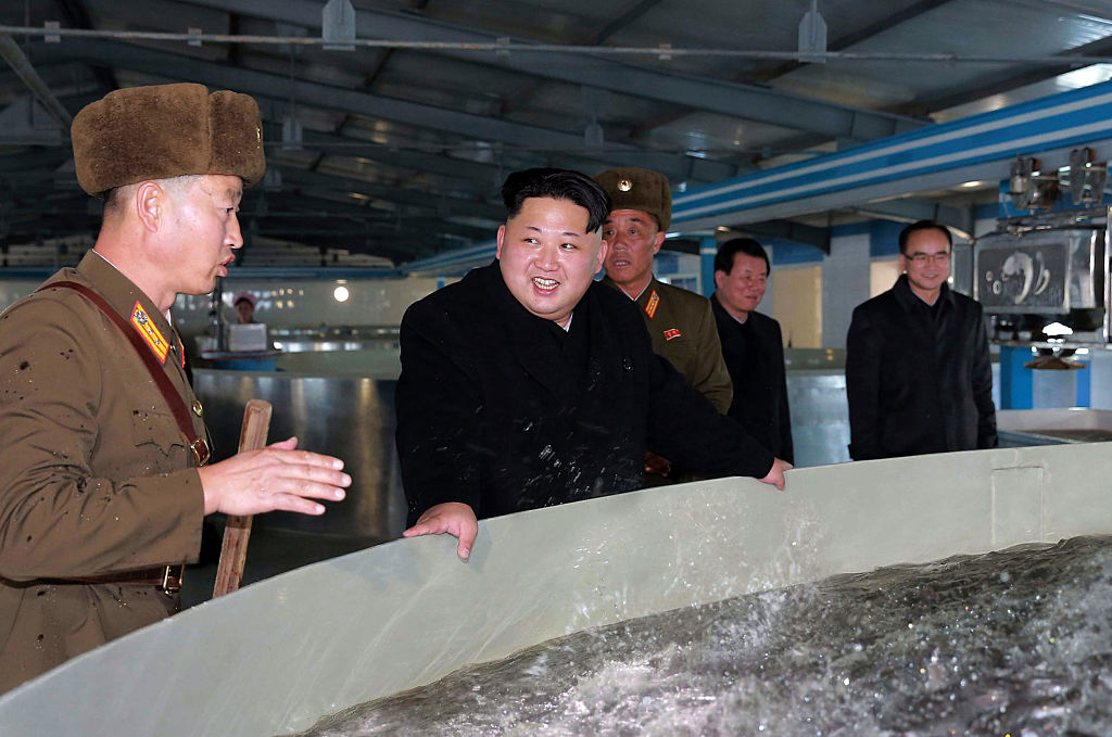 North Korean leader Kim Jong-Un inspects a catfish farm.