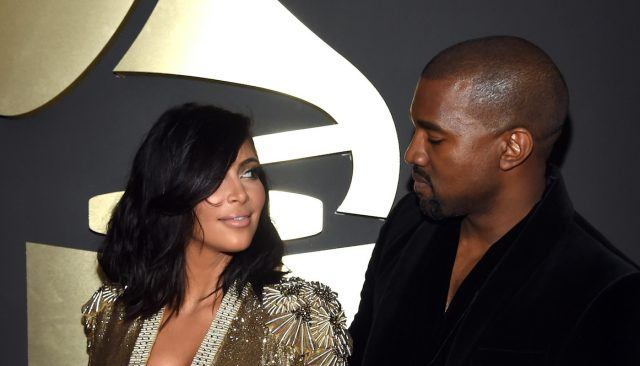 TV Personality Kim Kardashian and recording artist Kanye West attend The 57th Annual GRAMMY Awards at the STAPLES Center on February 8, 2015 in Los Angeles, California.
