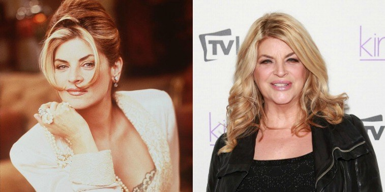 Kirstie Alley in a promotional image for Veronica's Closet in 1999, and Kirstie Alley at a premiere party for her show Kirstie in 2013