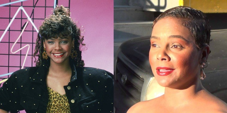 Lark Voorhies as Lisa Turtle on Saved By the Bell and Lark Voorhies in 2016 outside Jimmy Kimmel Live