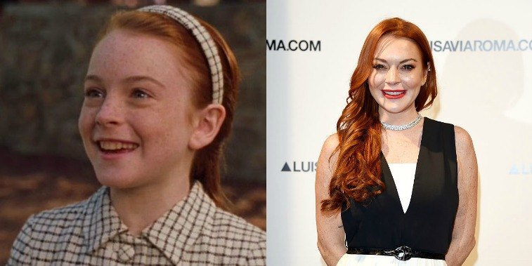 Lindsay Lohan in The Parent Trap in 1998 and Lindsay Lohan on the red carpet in 2017