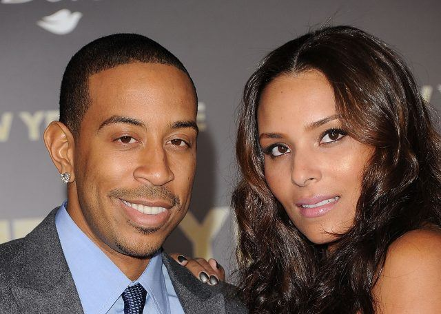 Recording artist Ludacris and his wife Eudoxie at a movie premiere.