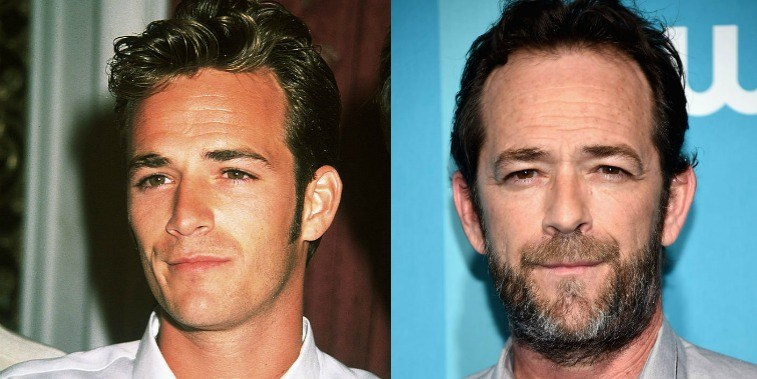 Luke Perry in the '90s and in 2017, posing
