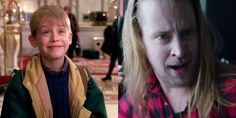 Macaulay Culkin as Kevin McAllister in Home Alone 2: Lost in New York standing in a hotel lobby, and as reprising the character as an adult in a webseries
