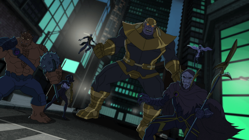 Thanos leads his minions in The Black Order, all standing together