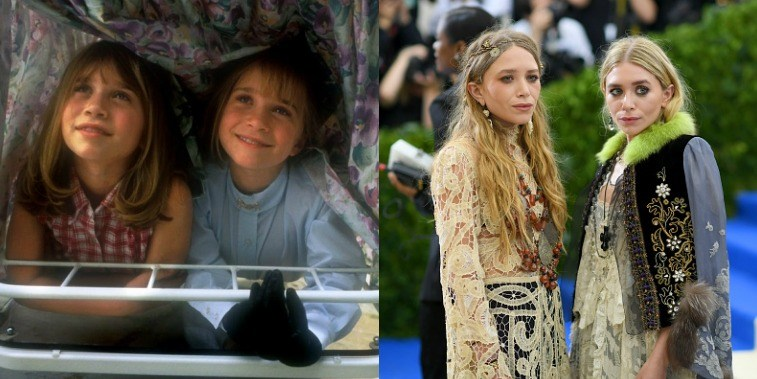 Mary-Kate and Ashley Olsen in It Takes Two (1995) and in 2016 at a Costume Institute Gala
