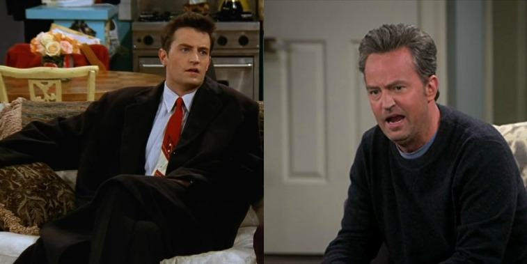 Chandler sitting on a couch in a suit and Oscar sitting and yelling
