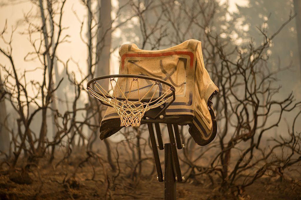 a melted basketball hoop