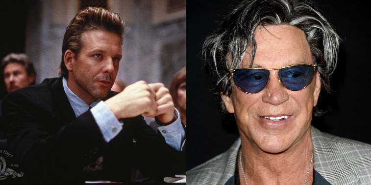 Mickey Rourke in Desperate Hours in 1990, and at a premiere in Los Angeles in 2016.