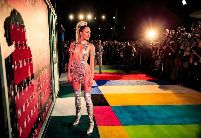 2015 MTV VMA Host Miley Cyrus, styled by Simone Harouche, attends the 2015 MTV Video Music Awards at Microsoft Theater on August 30, 2015 in Los Angeles, California.