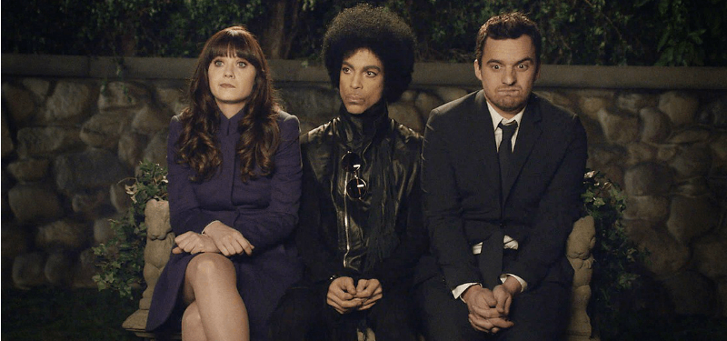 Prince sits between Jess and Nick on New Girl.