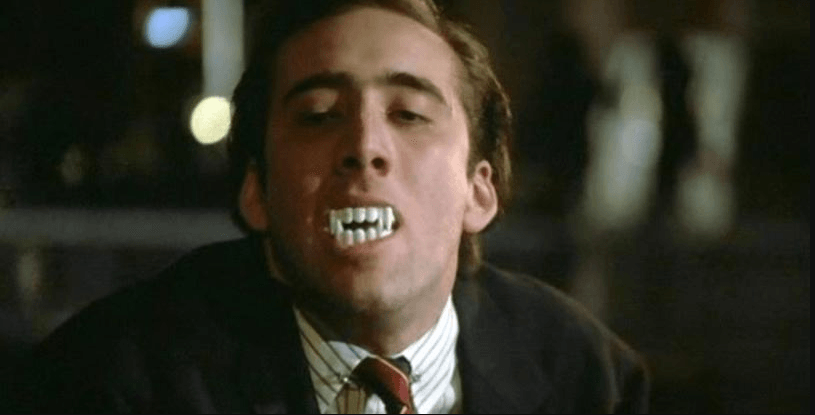 Celebrity Nic Cage with fake teeth
