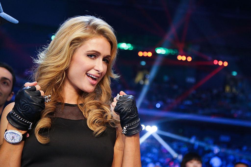 Paris Hilton at a boxing match