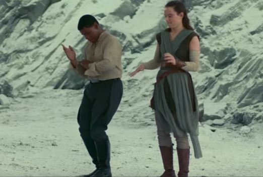 Daisy Ridley and John Boyega having fun on set