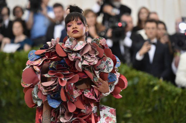"Singer Rihanna attends the ""Rei Kawakubo/Comme des Garcons: Art Of The In-Between"" Costume Institute Gala at Metropolitan Museum of Art on May 1, 2017 in New York City."
