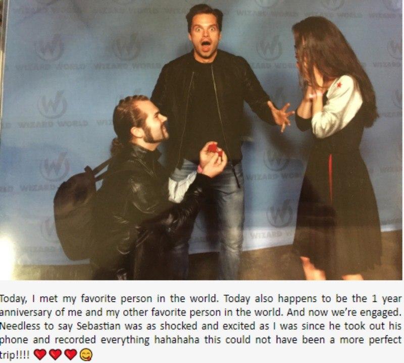 Sebastian Stan looks shocked behind a man proposing to a woman.