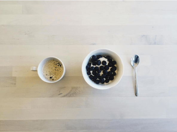 Skyr with blueberries and coffee