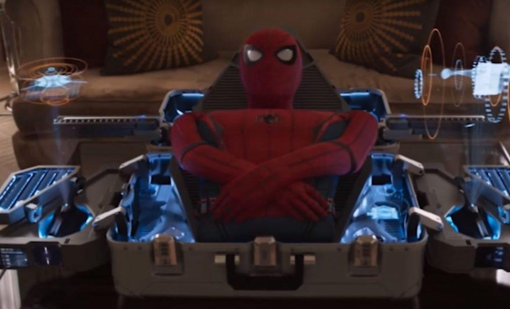 Spider-Man suit displayed in a high tech case