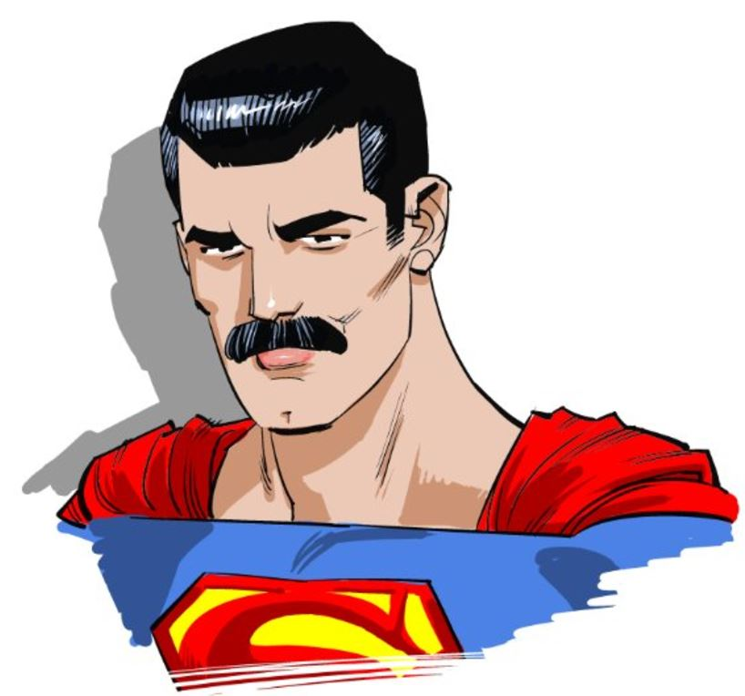 Sketch of Superman with a mustache