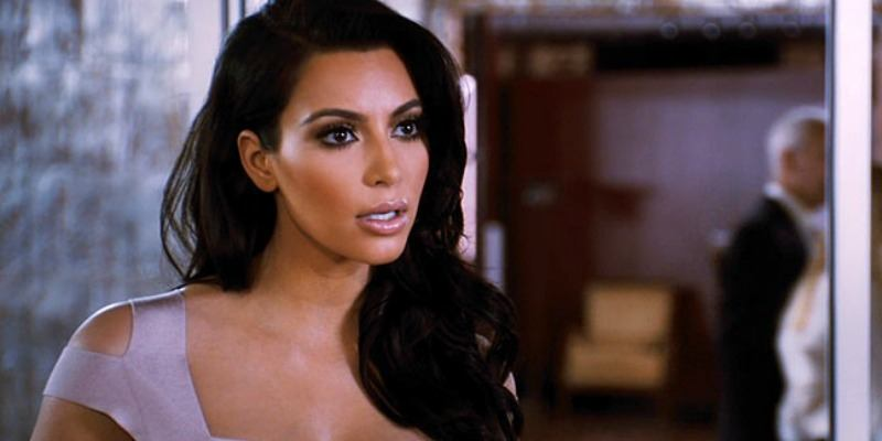 This is a closeup of Kim Kardashian's face in Temptation: Confessions of a Marriage Counselor.