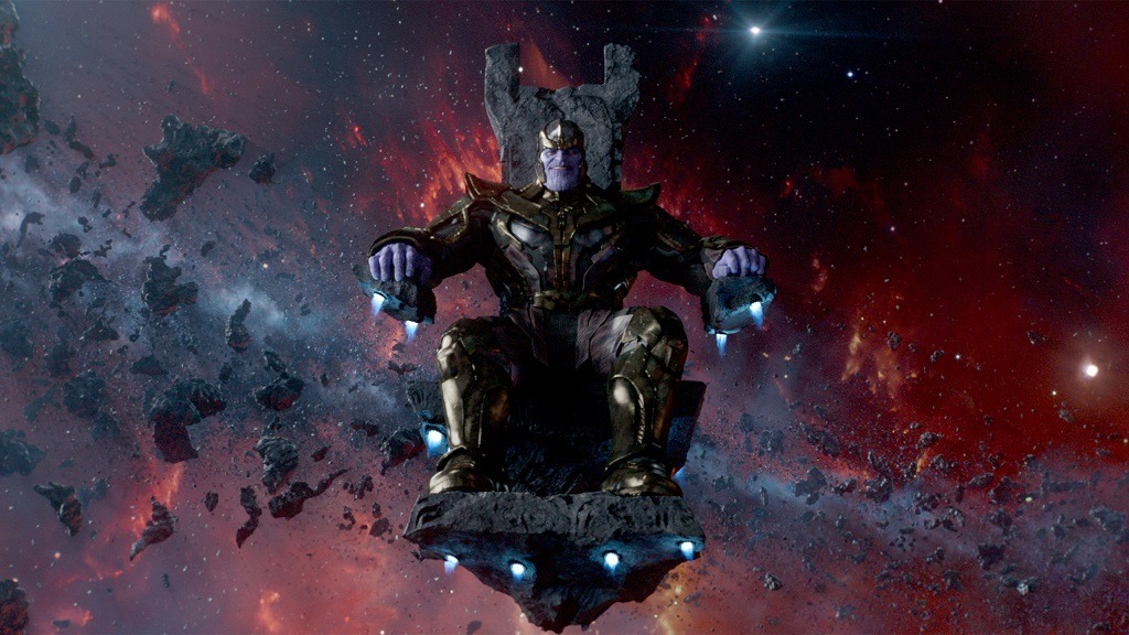 Thanos sitting on a throne suspended in space surrounded by darkness