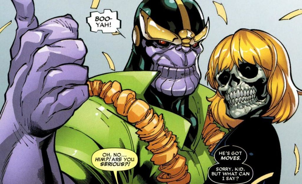 Thanos and Death, as a woman with blonde hair