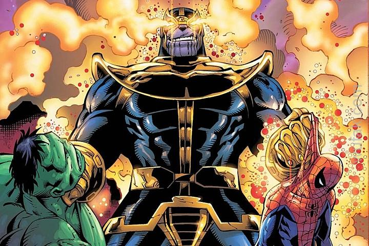Thanos holding the dead bodies of Hulk and Spider-Man