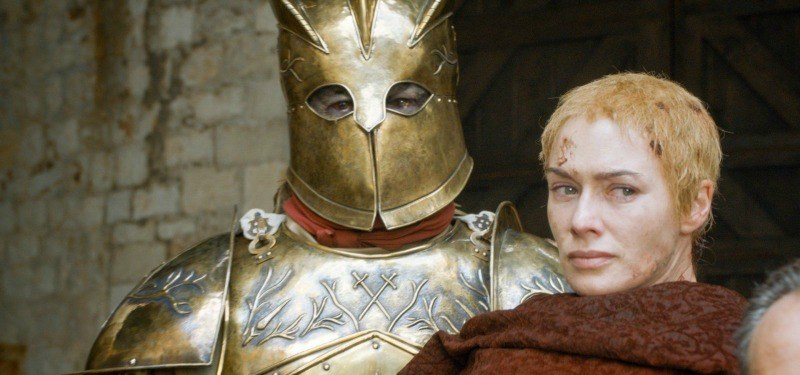 The Mountain is holding Cersei in full armor on Game of Thrones.